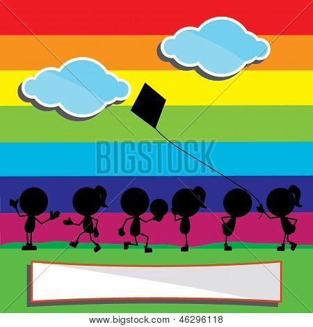Children Silhouettes With Rainbow And Clouds Background