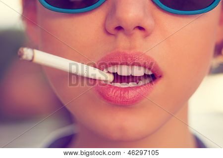 Woman Smoke A Cigarette
