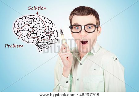 Brain Businessman With Creative Idea Illustration