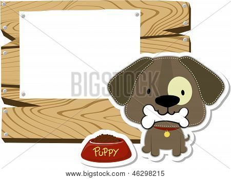 cute doggy and wooden blank board