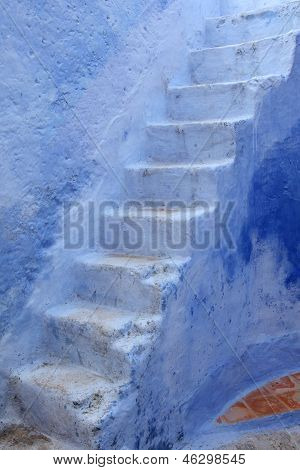 Blue Steps In Chefchaouen, Morocco
