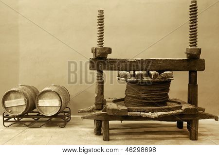 Wine Barrels And Old Cellar Press System