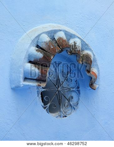 Blue Window In Of Chefchaouen, Morocco