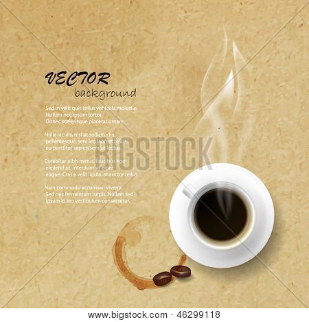 Vector coffee cup with coffee stain against paper texture background.