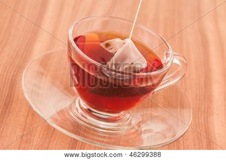 Steeping Tea Bag In A Glass Cup