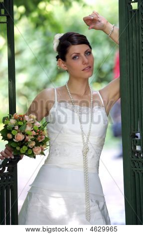 Bride Posing In Doorway