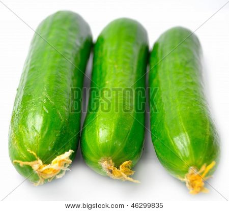 Three cucumber from the front