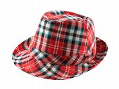 picture of fedora  - Red tartan fedora hat isolated on white background - JPG