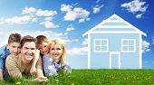 stock photo of house rent  - Happy family at home - JPG