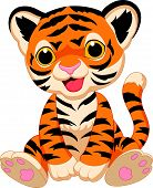 stock photo of cute tiger  - Vector illustration of Cute tiger cartoon isolated on white background - JPG