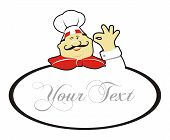 picture of chef cap  - Happy chef doing okay gesture and text - JPG
