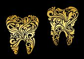 image of gold tooth  - Golden tooth in floral style for dentistry design - JPG