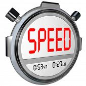 picture of stopwatch  - A stopwatch with the word Speed - JPG