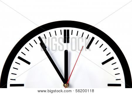 A clock showing the eleventh hour. All isolated on white background.