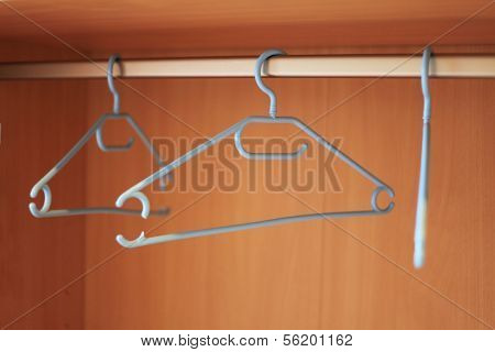 Standard wardrobe with three coathangers in it.