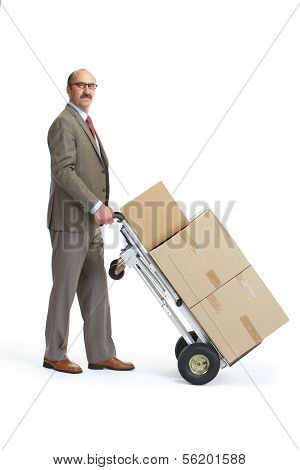 Businessman And Handcart