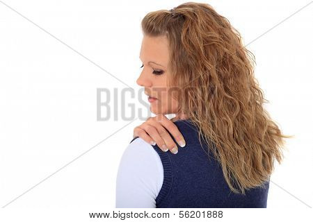 Attractive blonde woman suffering from tension. All on white background
