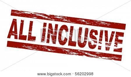 Stylized red stamp showing the term all inclusive. All on white background.