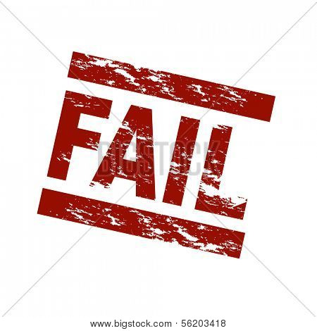 Stylized red stamp showing the term fail. All on white background.