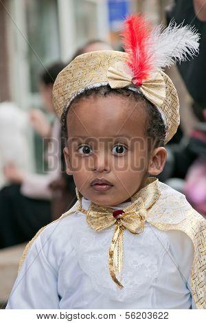 Jerusalem, Israel - March 15: Purim Carnival,portrait Of An Unidentified Ethiopian Little Boy