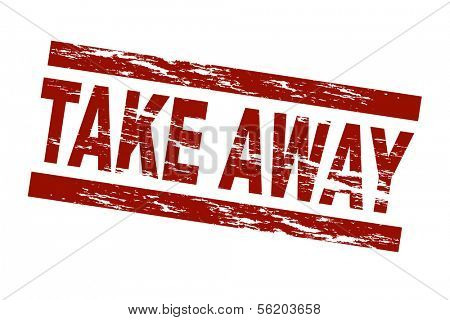 Stylized red stamp showing the term take away. All on white background.