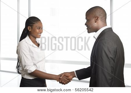 African Business Partners Shake Hands