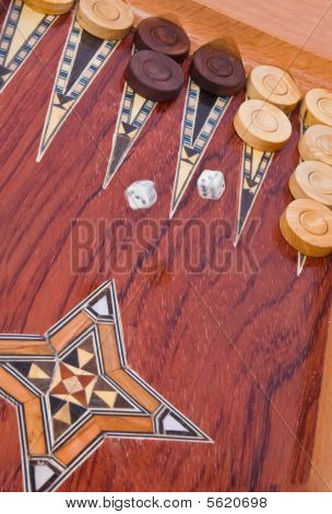 Wooden Handmade Backgammon Board Isolated On White