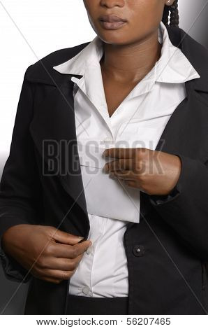 African Woman Putting Bribe In Jacket