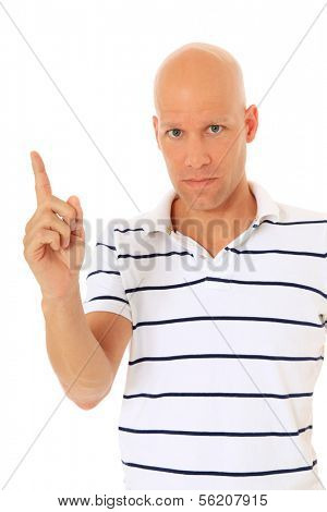 Attractive man admonishing lifting his finger. All on white background.