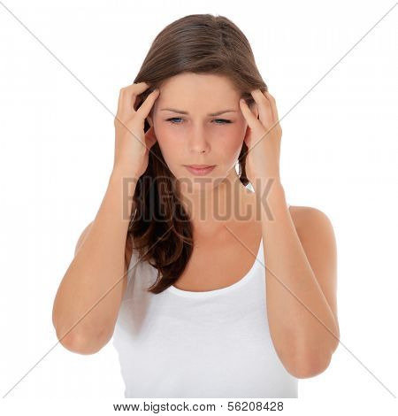 Attractive young woman suffers from headache. All on white background.
