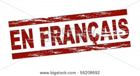 Stylized red stamp showing the term en francais. All on white background.