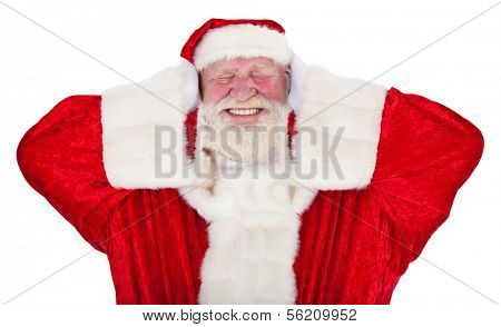 Santa Claus in authentic look keeps his ears shut. All on white background.