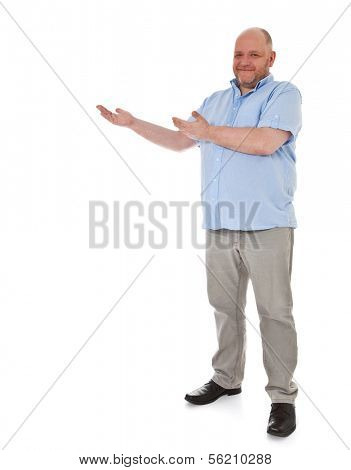 Full length shot of a adult man pointing to the side. All on white background.