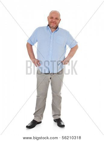 Full length shot of a adult man. All on white background.