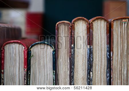 Row of ancient books.