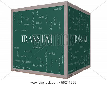 Trans Fat Word Cloud Concept On A 3D Cube Blackboard