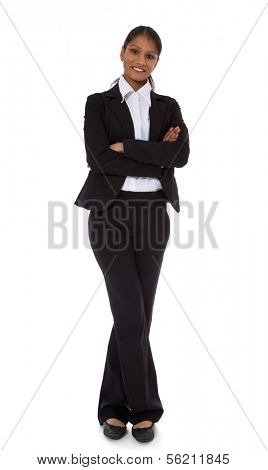 Full length shot of an attractive indian businesswoman. All on white background.