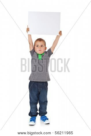 Attractive young boy holding blank white sign. All on white background.