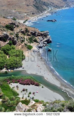 View of Preveli Beach, Crete.
