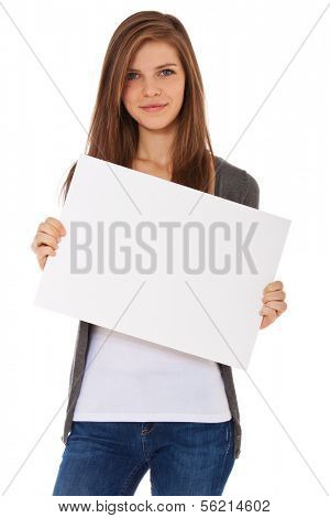 Attractive teenage girl holding blank sign. All on white background.