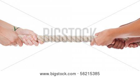 Various hands during tug war