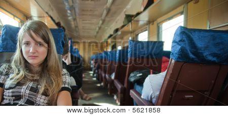 Girl Passanger Sitting Inside Train
