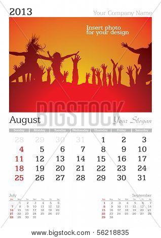 August 2013 A3 calendar - vector illustration