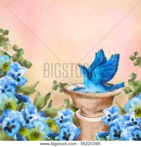 Pastel Drawing Blue Bird In Bath And Pansy Flowers
