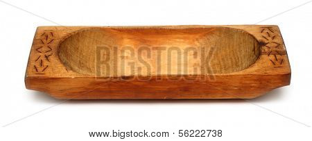 old wooden trough isolated on white