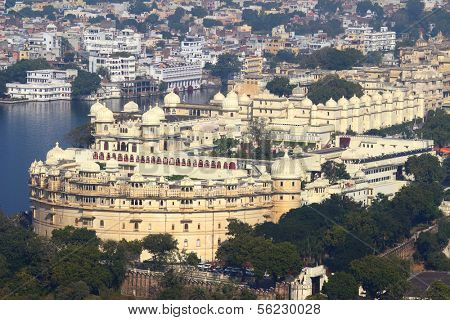 view on lake and palace in Udaipur India