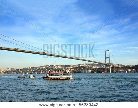 bridge over the Bosphorus Strait in Istanbul Turkey