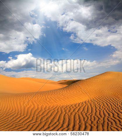 beatiful cloudy evening landscape in desert