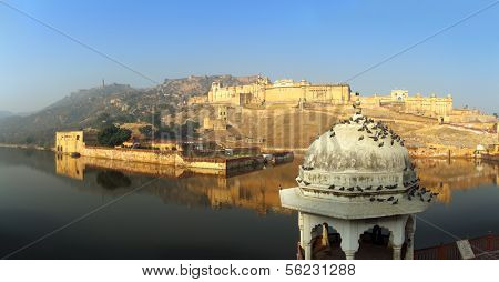 panorama with fort and lake in Jaipur India