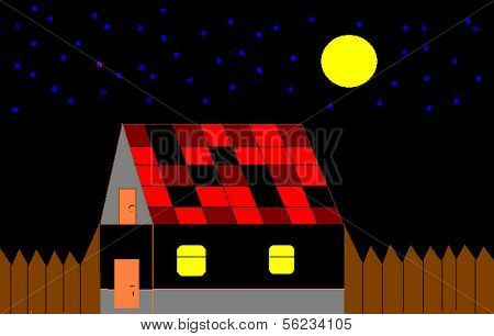 Picture of house on a background nightly sky.